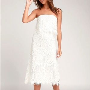 Lulus Delia White lace strapless midi dress